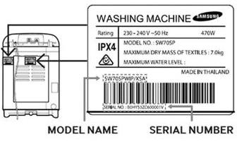 Samsung washing machine diagram - placement of model name and serial number