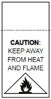 Low fire hazard label featuring flame graphic and text warning