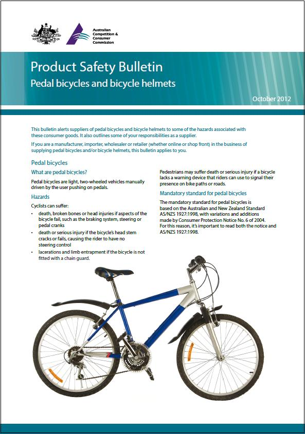 Pedal bicycles and bicycle helmets | Product Safety Australia