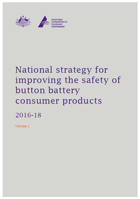 Cover of the National strategy for improving the safety of button battery consumer product