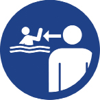 Round icon in blue showing a person supervising a child in the pool.