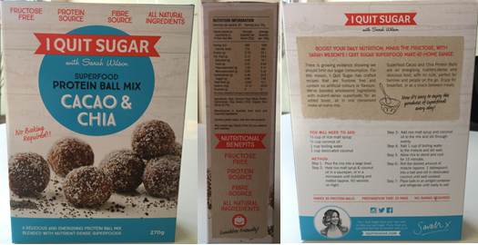 Future Generation Foods Pty Ltd I Quit Sugar Superfood Protein Ball Mix Cacao And Chia Product Safety Australia
