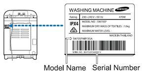 samsung washing machine serial number