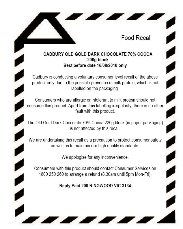 cadbury advertisement recall report Chocolate maker cadbury malaysia, a part of mondelez international inc , on  monday recalled two chocolate products after they tested positive.